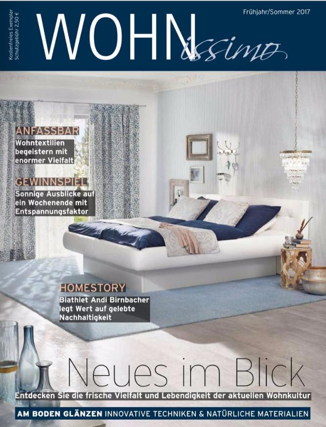 Wohnzeitschrift wohnissimo 2017 raumausstattung schira Wohn zeitschrift